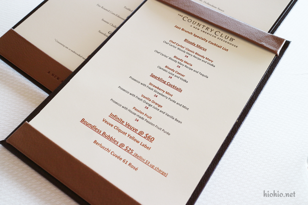 Jazz Brunch at the Country Club Wynn.  Drink Menu.