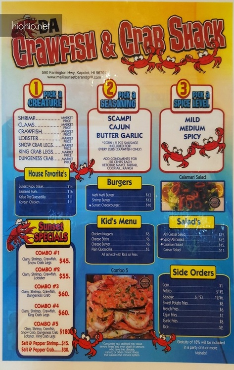 Da Crawfish & Crabshack Oahu (Menu 1).
