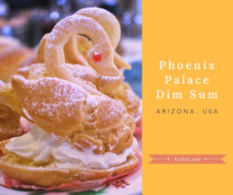Phoenix Palace Seafood & BBQ Chinese Restaurant (Chandler, Arizona, USA).  Swan shaped cream puff during Dim Sum service.