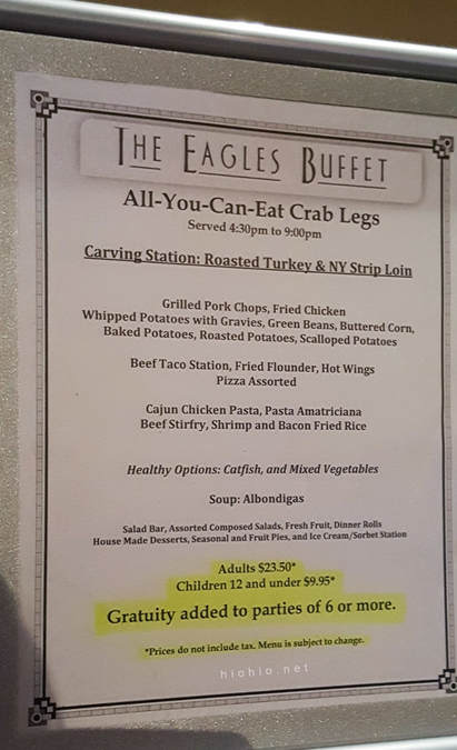 Eagles Buffet (Casino Arizona) AYCE Crab Legs Wednesday and Thursdays (Dinner menu).