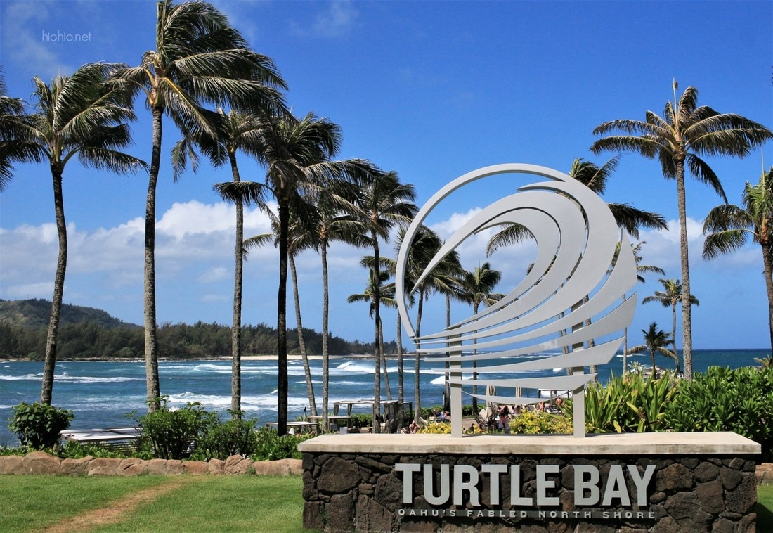 Turtle Bay Resort North Shore Honolulu (Hotel Entrance). Waterfront views.