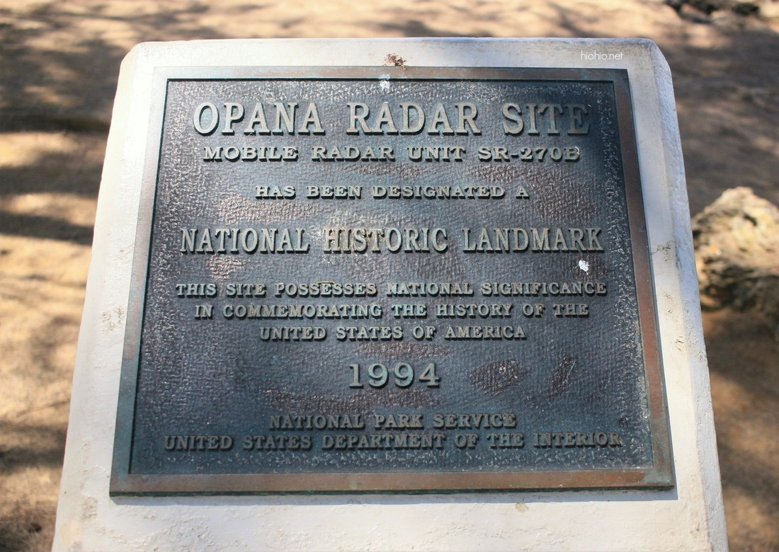 Turtle Bay Resort Opana Radar Site National Historic Landmark Plaque.